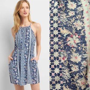 NWT Gap blue floral halter swing dress